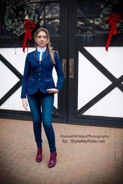 Sarm Hippique coat & cobalt shirt