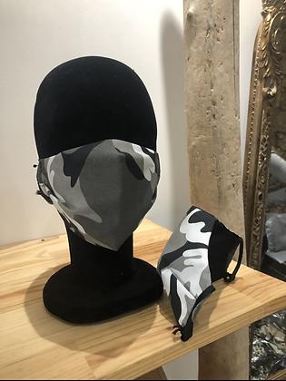 Masque tissu camouflage noir et gris