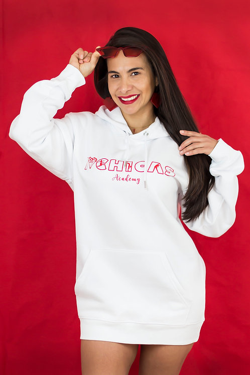 Chilli Chica Oversized Hoodie - White & Hot Red