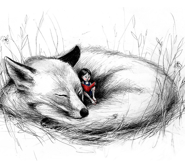 girl reading with fox