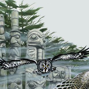 Haida Gwaii forest illustration  for poem 'My Heart Soars' by Chief Dan George