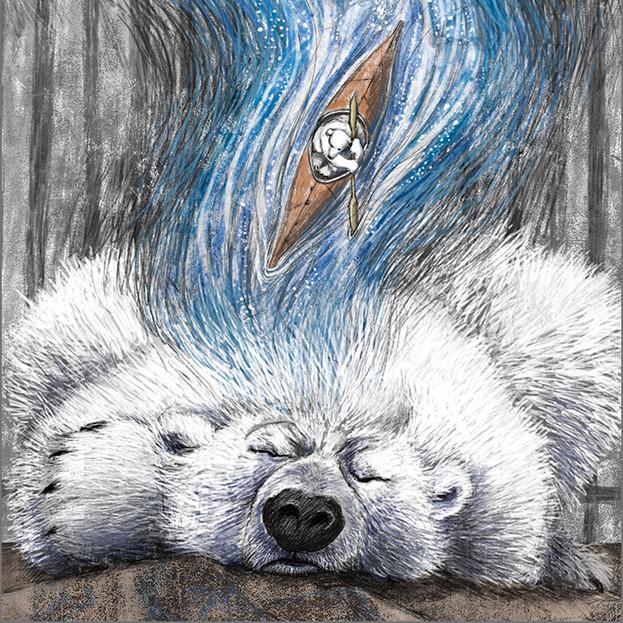 Illustration for 'A Polar Bear's Dream' poem by Henry Beissel