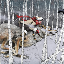 Running with wolf: 2nd Place 2019 Brightness Magazine Illustration Awards: Books catagory