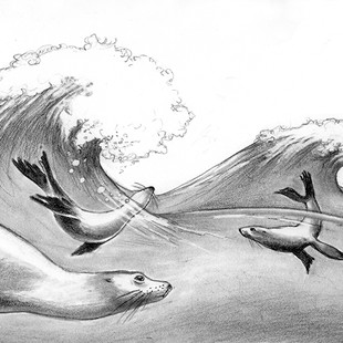 The rhythm of the sea, sketch for 'My Heart Soars' by Chief Dan George