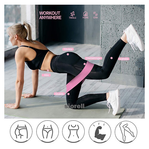 Banda entrenamiento algodón y elástico  ejercicio fitness piernas glúteos cadera