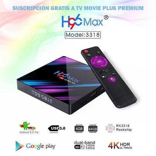 Tv Box H96 Max Plus 4K con Tv Movie Plus Premium gratis