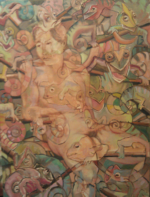 Nude with Chameleons