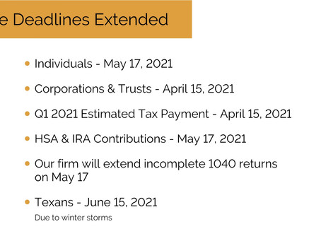 IRS Extends Some Deadlines