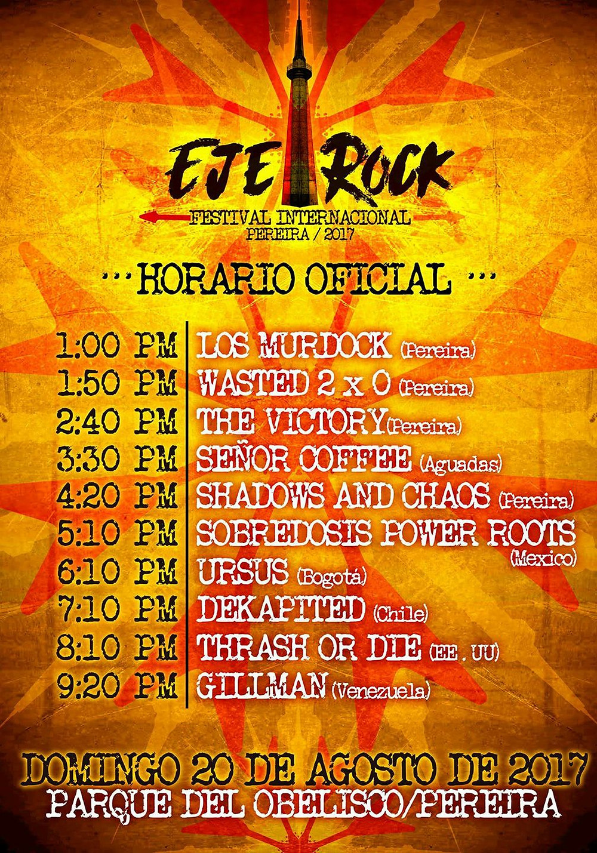 Horarios Festival Eje Rock Pereira - Overline Music