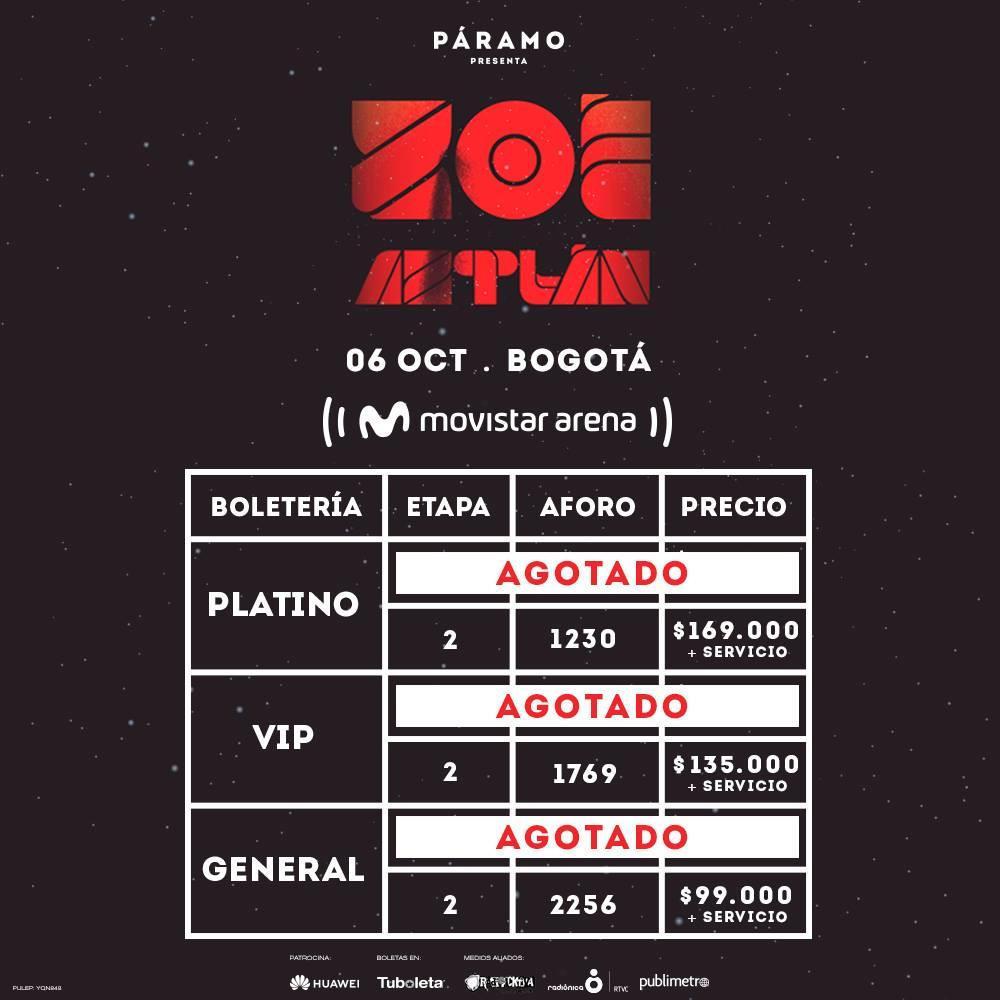 Zoé en Bogota 2018