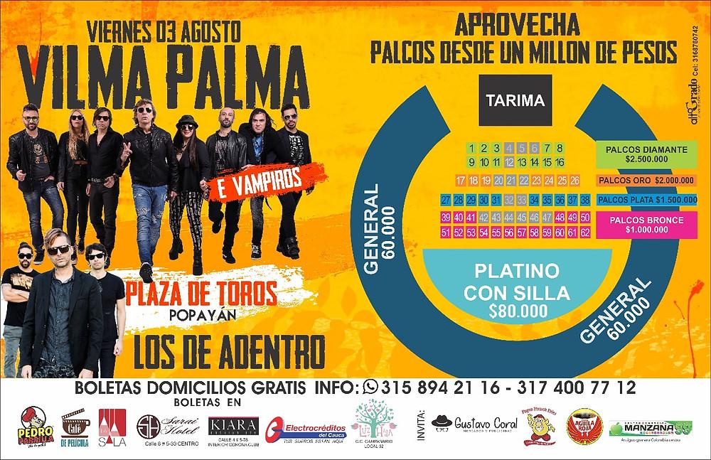 Boletas Vilma Palma Popayán 2018
