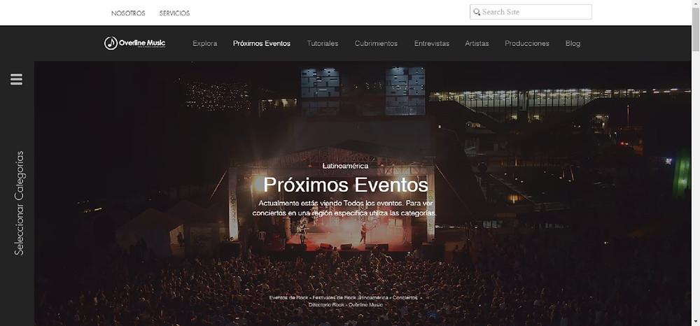 Overline Music función próximos eventos