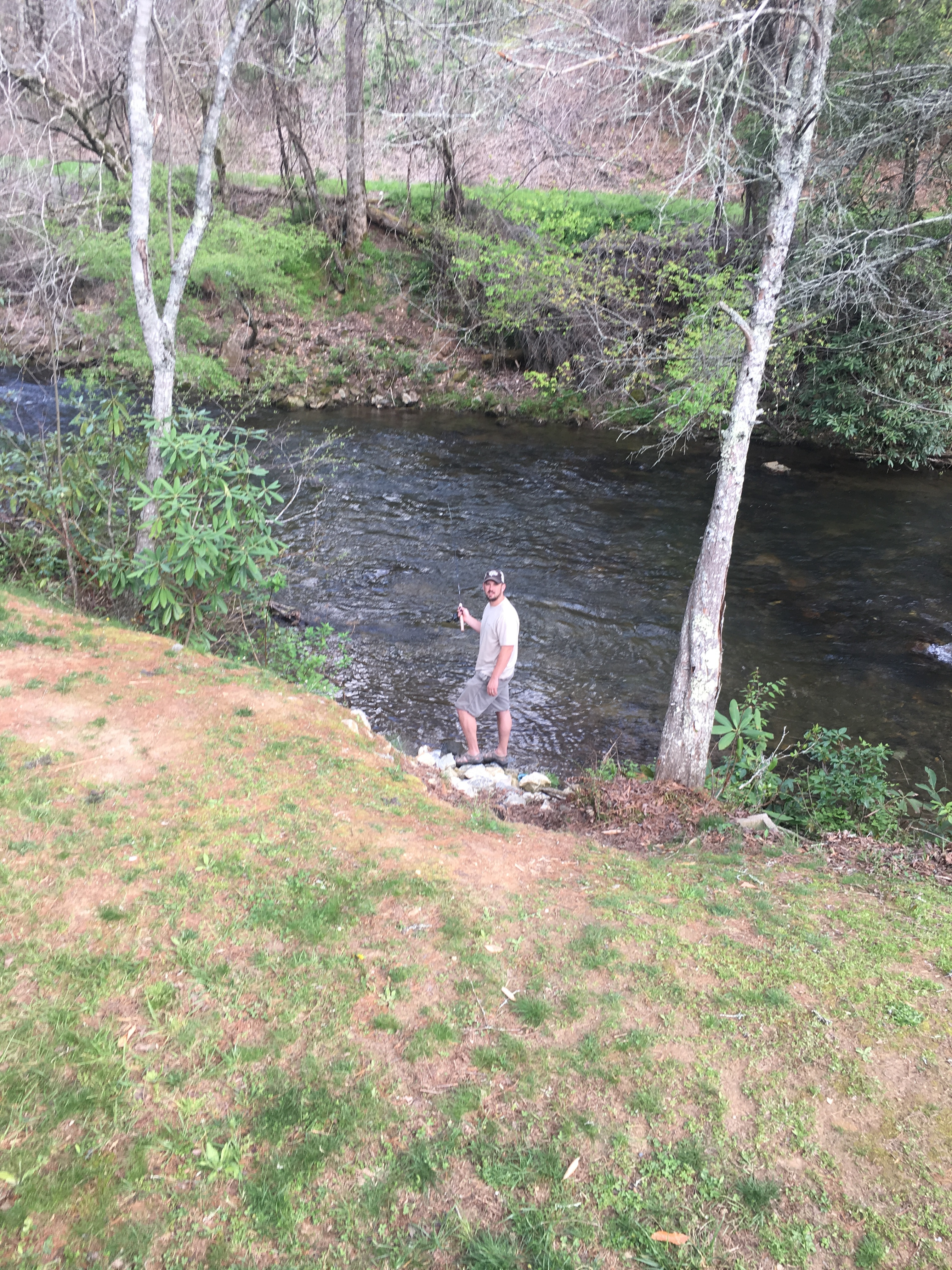 Fishing behind Cabin