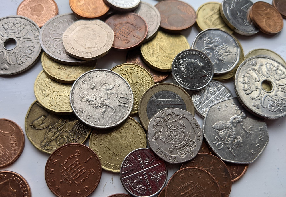 Coins from various currencies