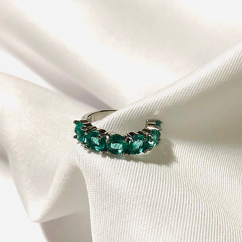 Piercing fake Zircônia - verde e ródio negro