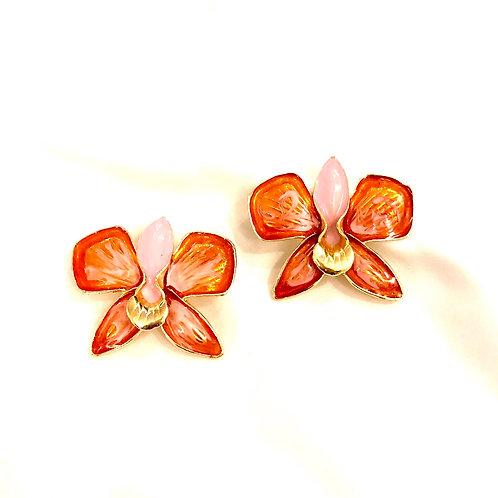 Brinco Flor Orquídea - Esmaltado Rosa - Banhado a ouro