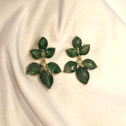 Brinco Folhas - Esmaltado Verde - Banhado a ouro