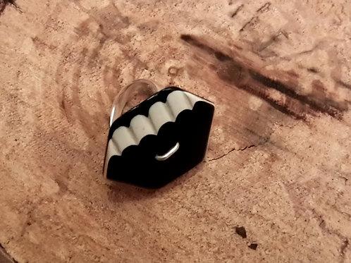 Black cream silver ring