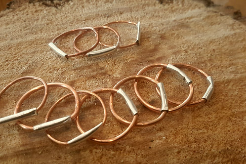 copper silver stack rings