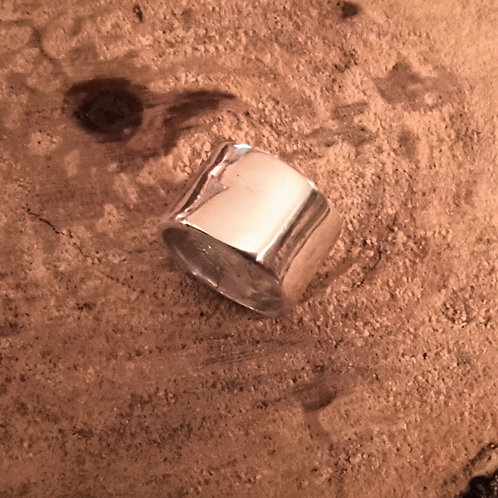 large fine silver ring