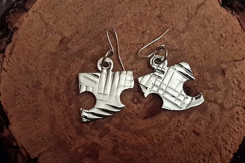 stirling silver puzzle earing drops.