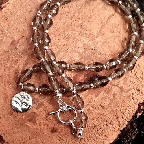 smoky glass bead necklace.