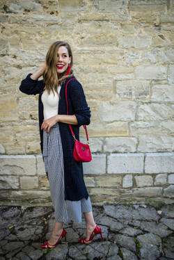 Gingham Culottes with a White Blouse