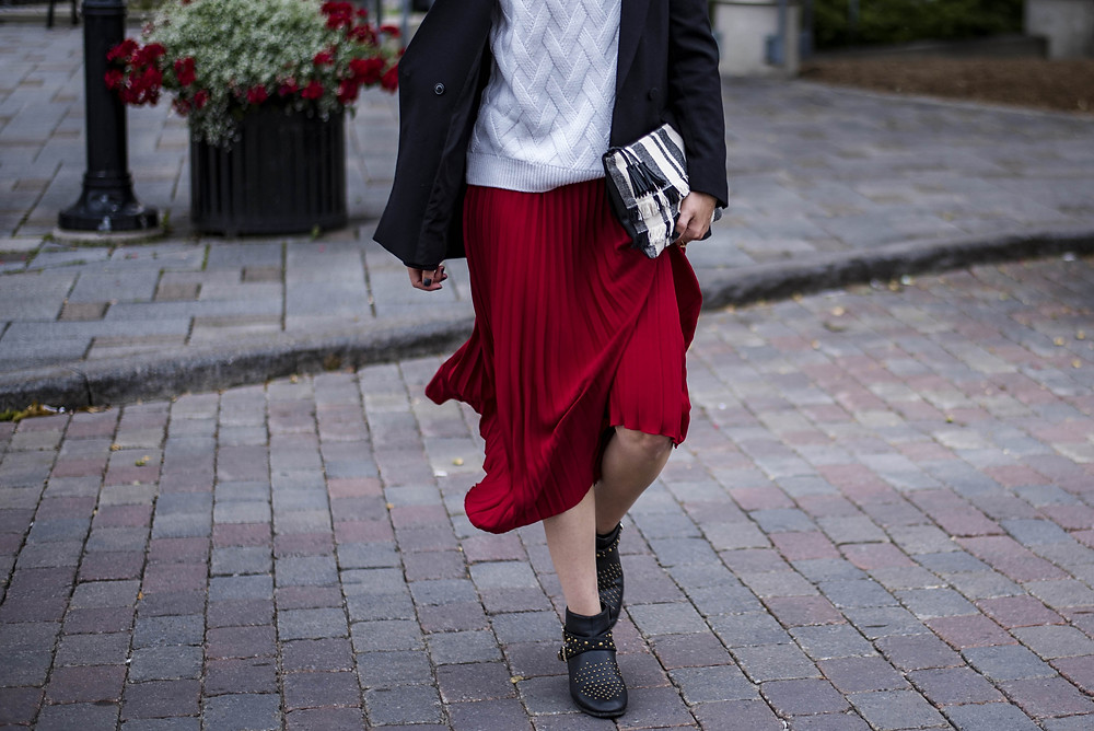 boyfriend blazer and midi skirt