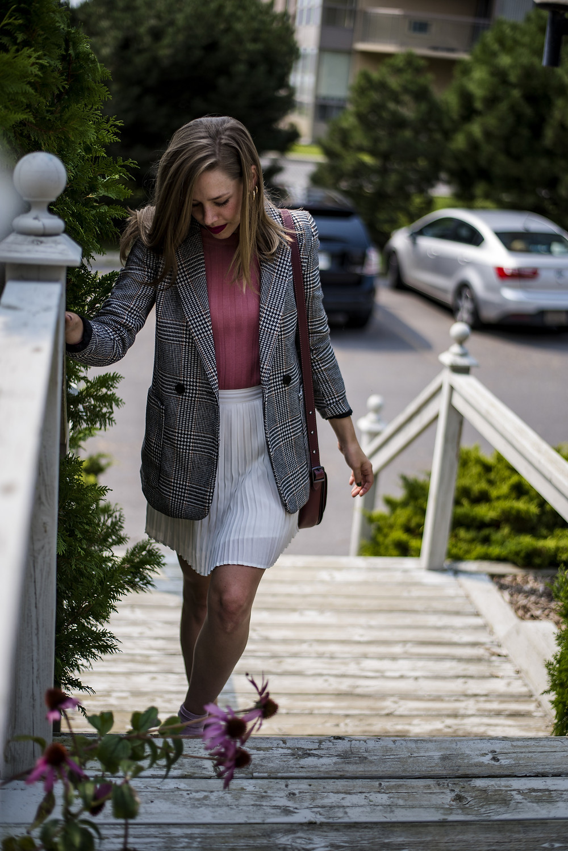 plaid blazer and pleated skirt