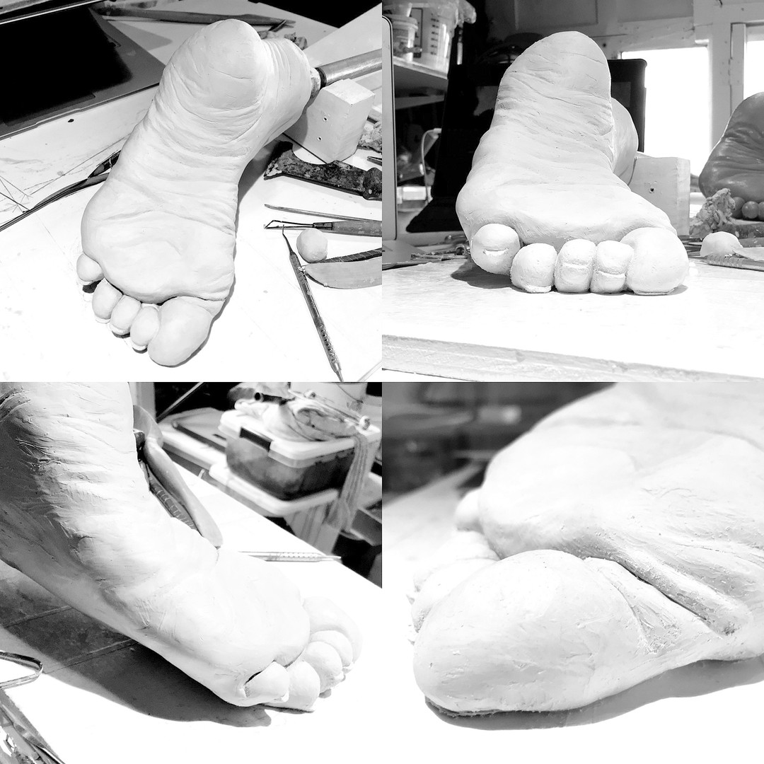 Fragmented Human Female Foot Clay Stage
