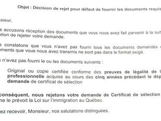 Exemple d'une lettre de rejet