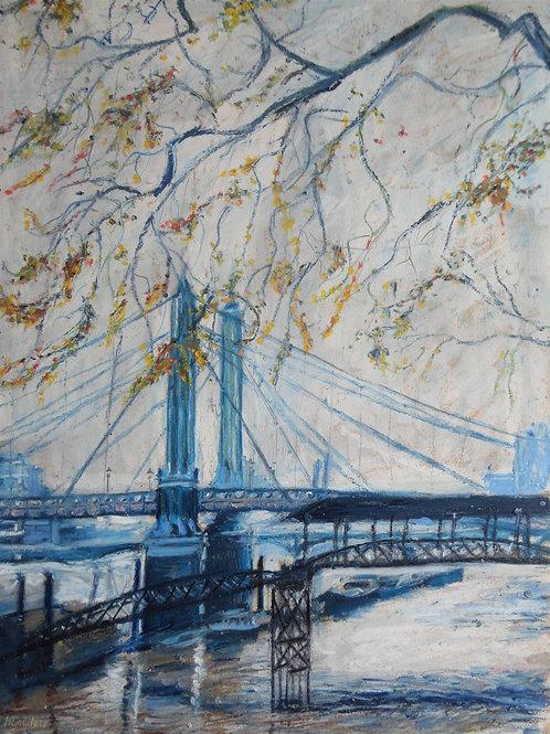 Blue Albert Bridge In Autumn