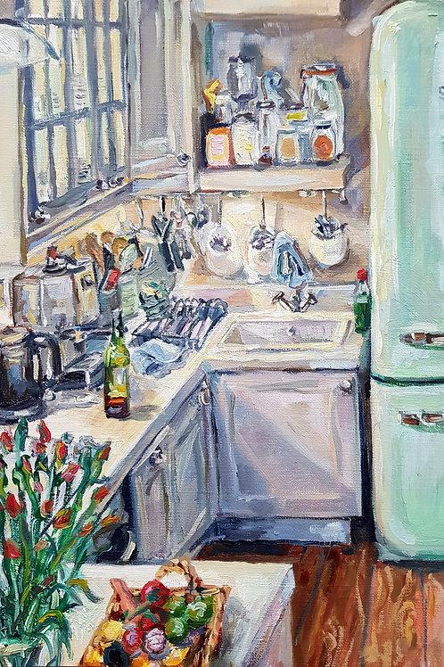 Kitchen Interior With Green Fridge 1