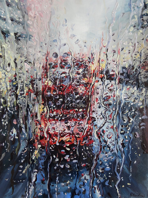 Rainy London Bus At Night