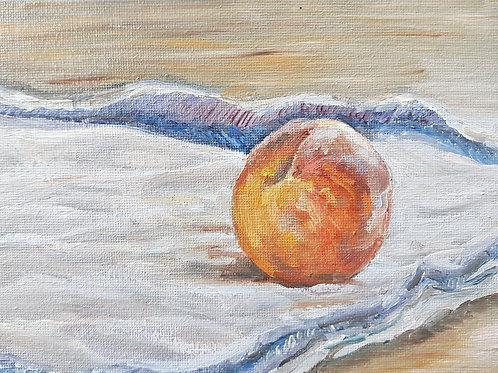 Tiny Peach On A Tea Towel