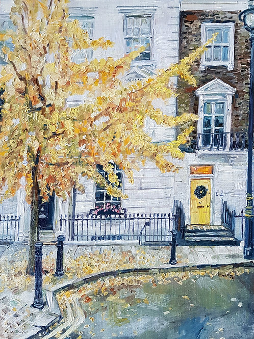 Late Autumn in Pimlico, With A Yellow Door