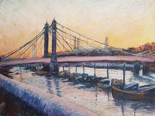 Snowy Albert Bridge on The River Thames in London