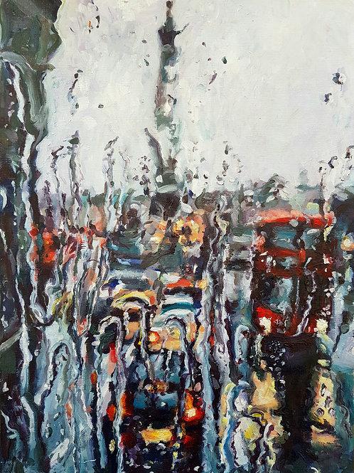 Rainy Window View of Trafalgar Square, London