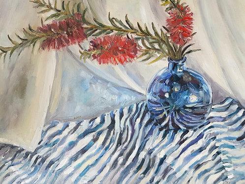 Moreton Place Bottle Brush, In A Blue Vase