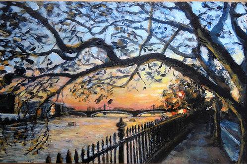 Thames sunset towards Battersea Park