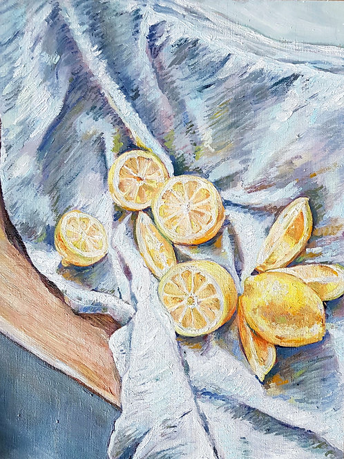 Lemon Still Life On A Blue Cloth