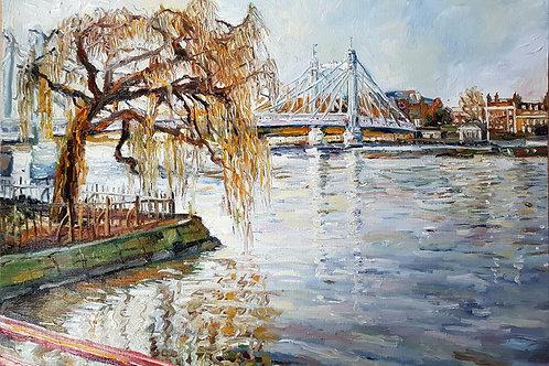 London Thames View From Battersea Park To Albert Bridge