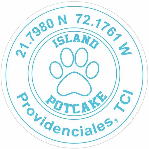Round Potcake/Coordinates Sticker (white)
