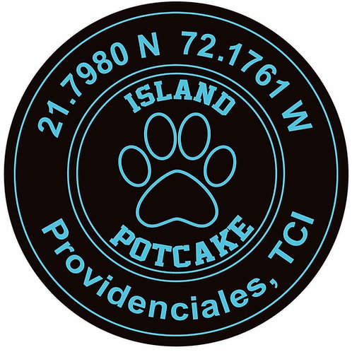 Round Potcake/Coordinates Sticker (black)