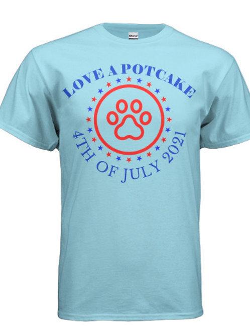 "4th of July "" Love a Potcake"" T-shirt (Caribbean Blue)"