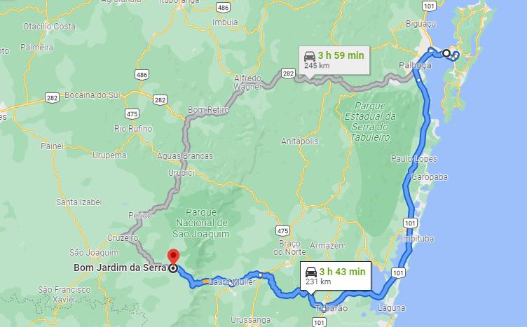 Rotas para seguir de Florianópolis a Bom Jardim da Serra, uma subindo a Serra do Rio do Rastro, outra pela BR 282