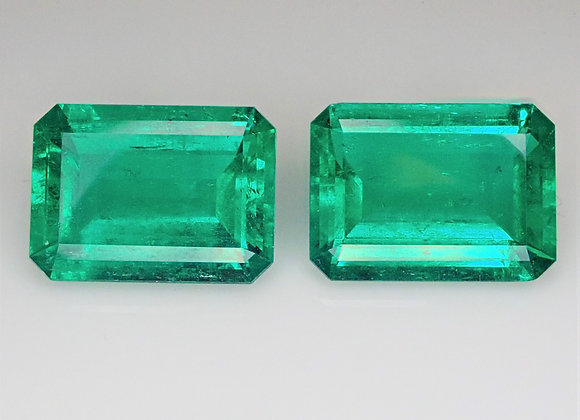 19.57tcw Colombian Emerald Pair