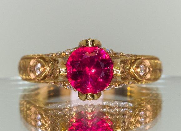 1.05ct Burma Ruby and Diamond Ring