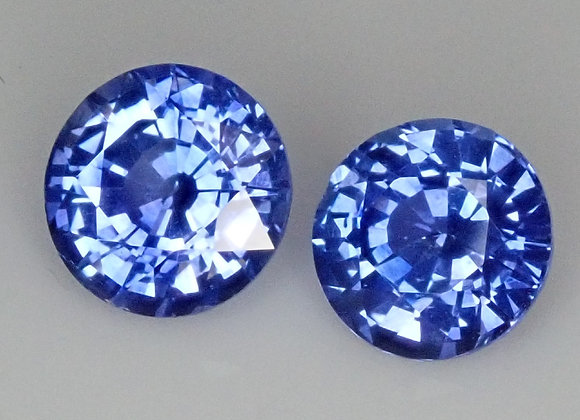 2.09ct Round Sapphire Pair