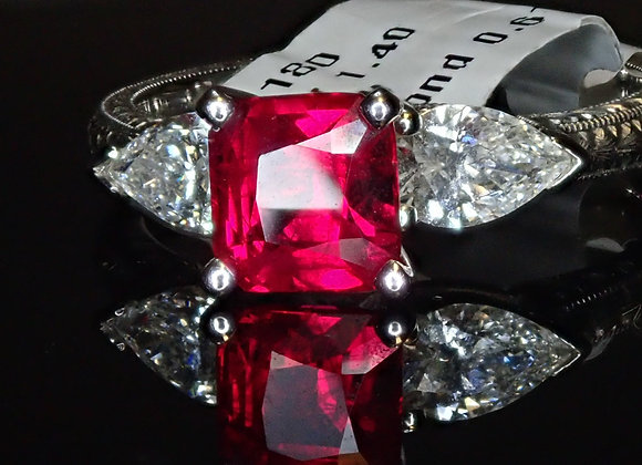 1.40ct Burma Ruby Ring